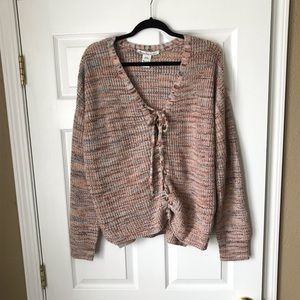 American Rag multicolor front lace up sweater
